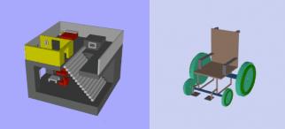 3d slash house and wheel chair