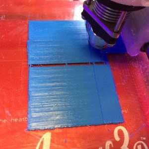 blue PLA first layer